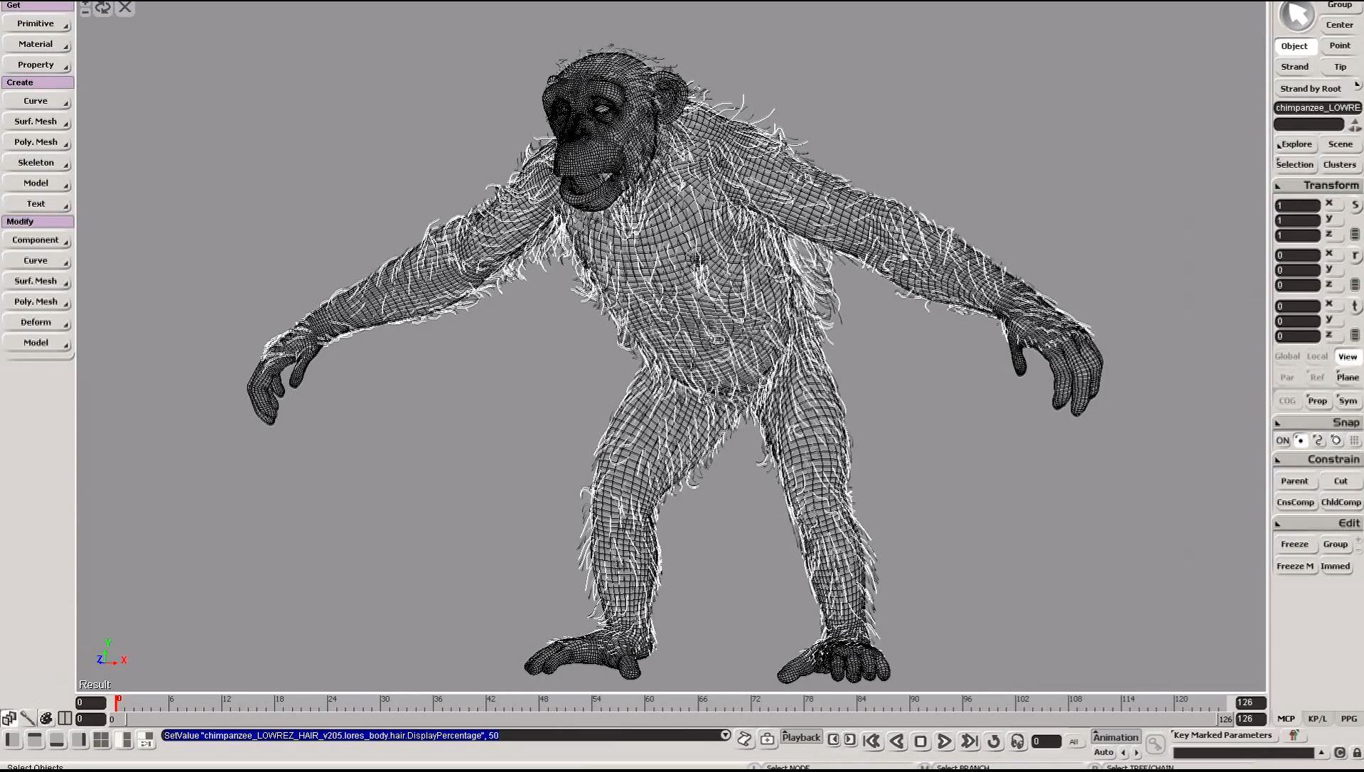 Pelo en el chimpancé con XSI.