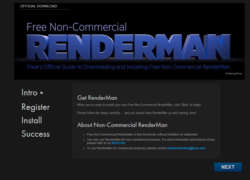 Página de descarga de Renderman