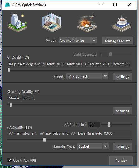 Ajustes rápidos de V-Ray 3.3 en Maya