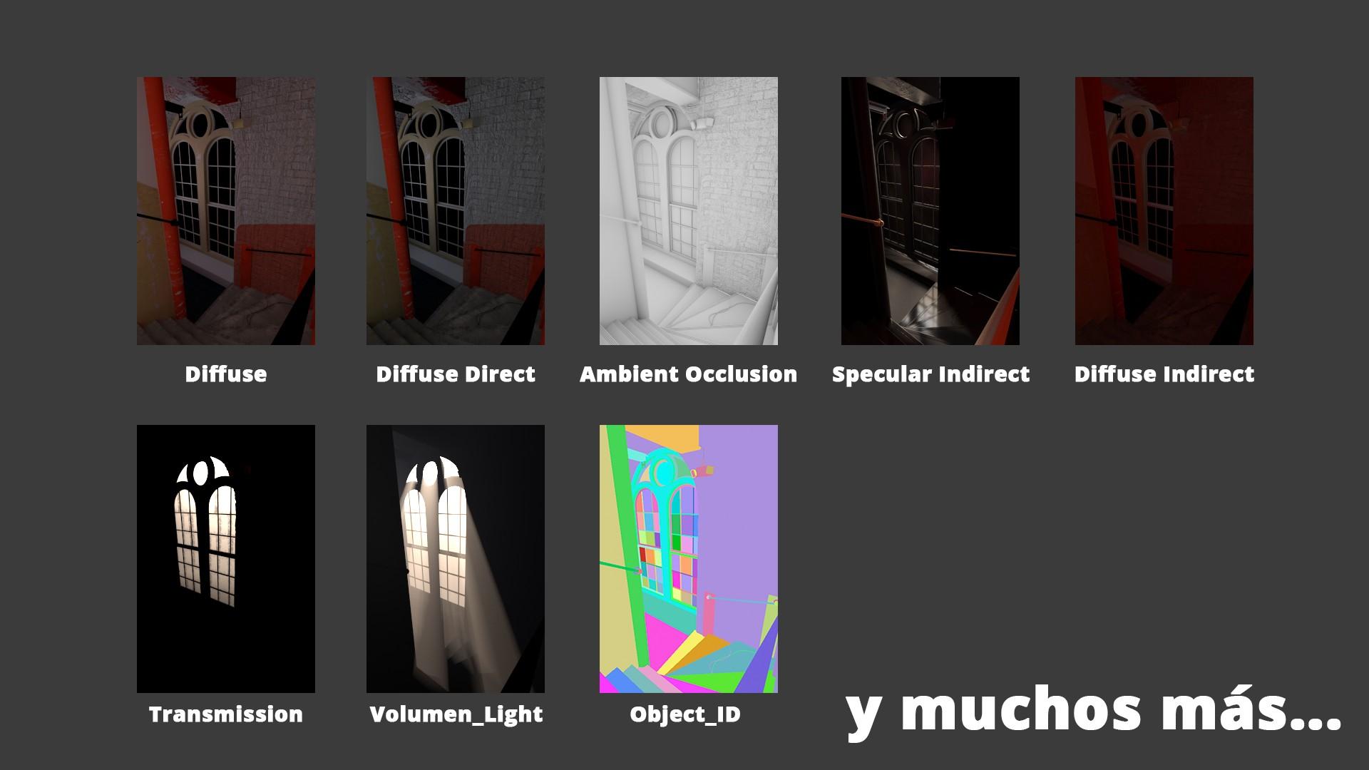Imagen descompuesta en diferentes AOV