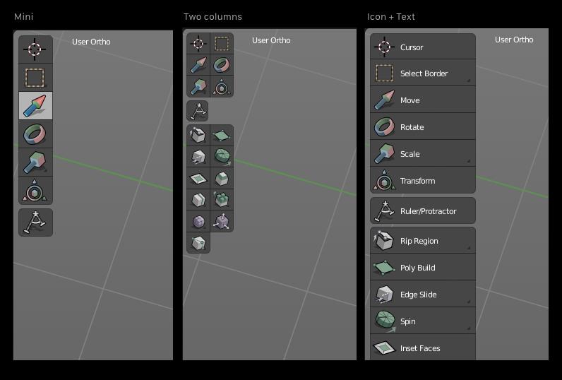 La nueva barra de herramientas en Blender 2.8