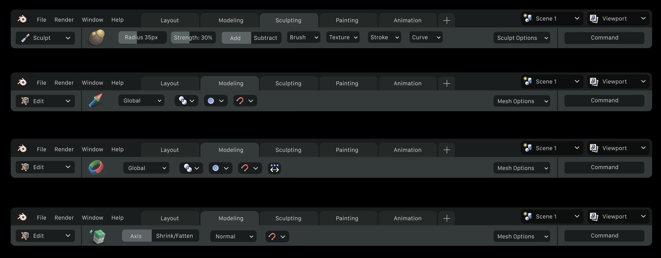 Los ajustes de las herramientas en Blender 2.8