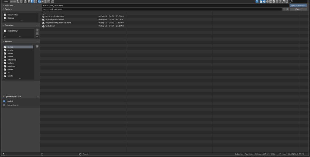 Antiguo explorador de archivos de Blender 2.80