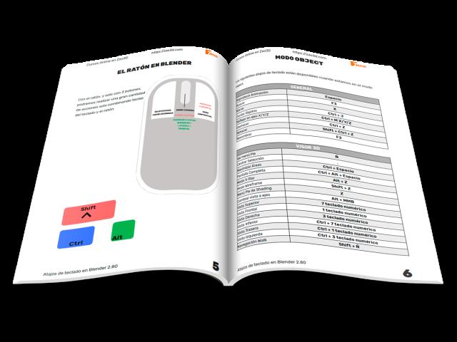 Guía con los atajos de teclado de Blender 2.80 en español.