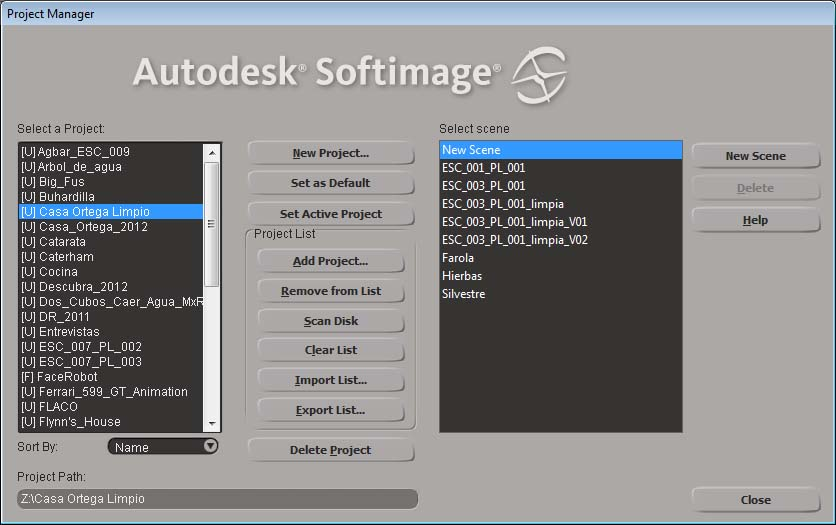 Project Manager de Softimage