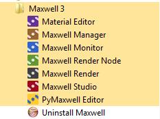 Programas instalados de Maxwell Render