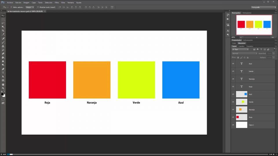 Módulo 4. Curso de Photoshop. La herramienta mover