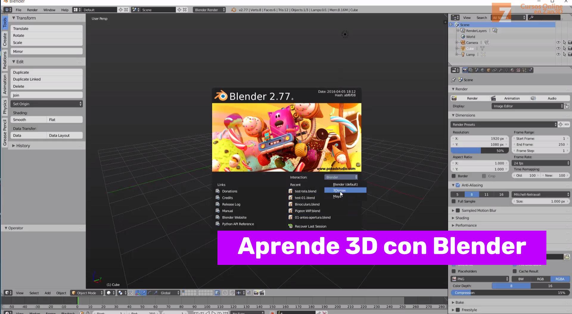 El interface de Blender