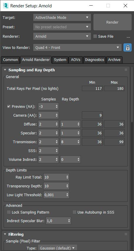 Ajustes del sampling de Arnold en 3ds max