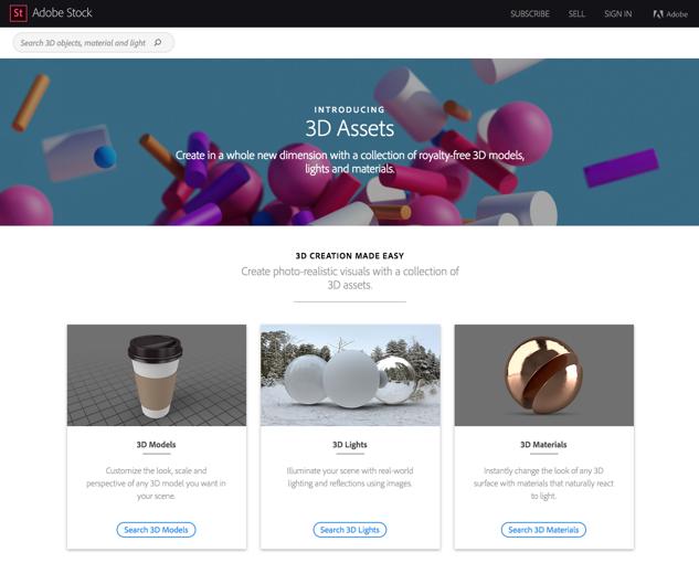 Biblioteca de objetos 3d en Adobe Stock