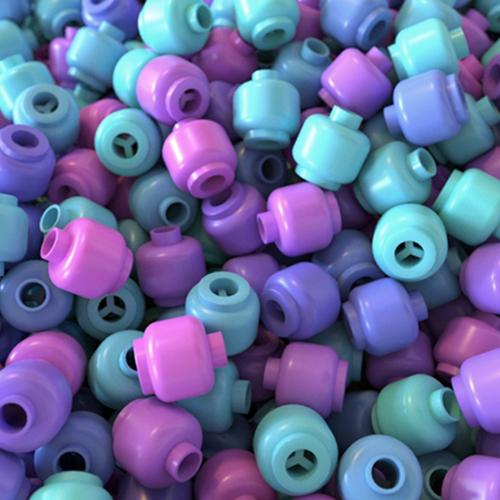 Piezas de plástico con Color Jitter en Arnold