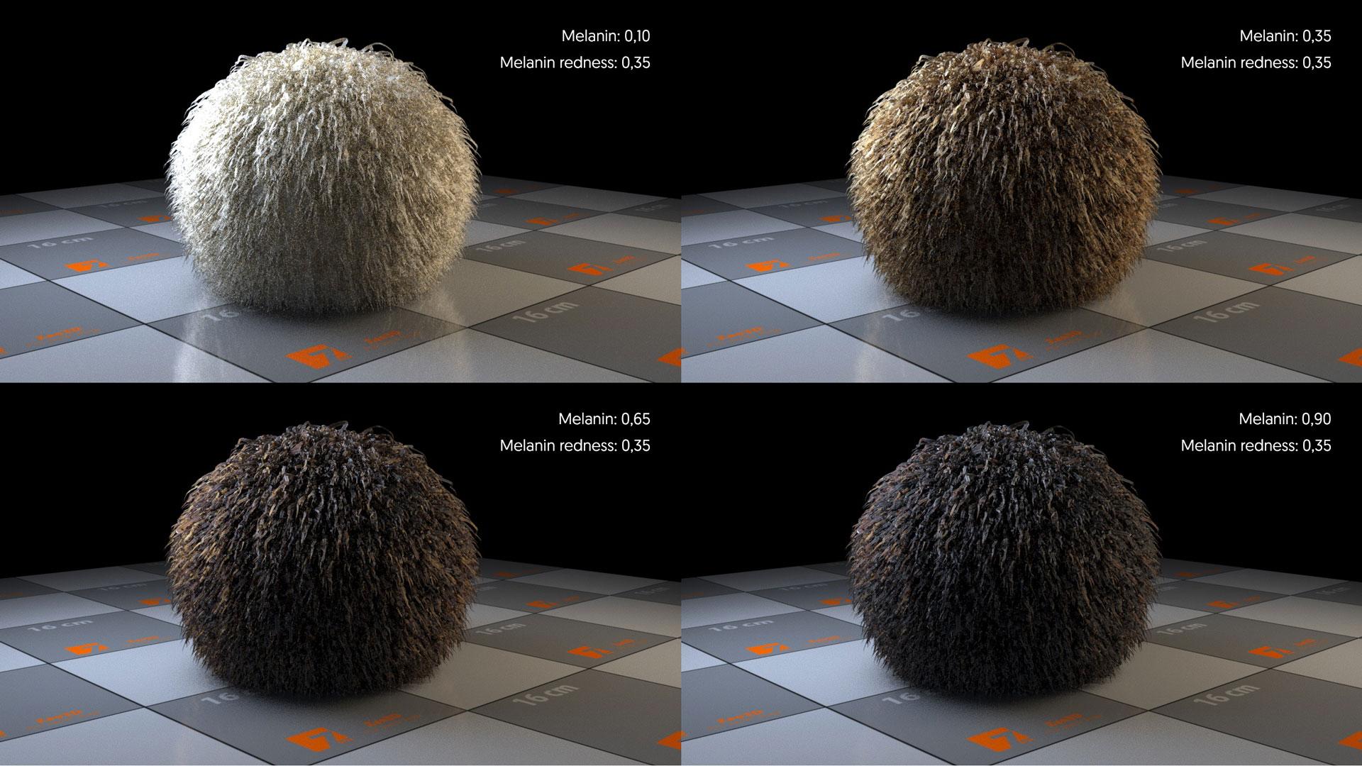 Los parámetros de Melanin en Arnold para 3ds max. Standar Hair.
