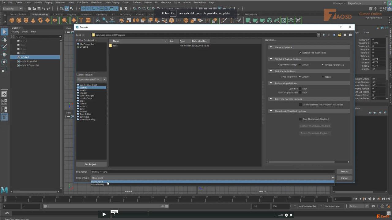 Creación de proyectos con Maya 2018