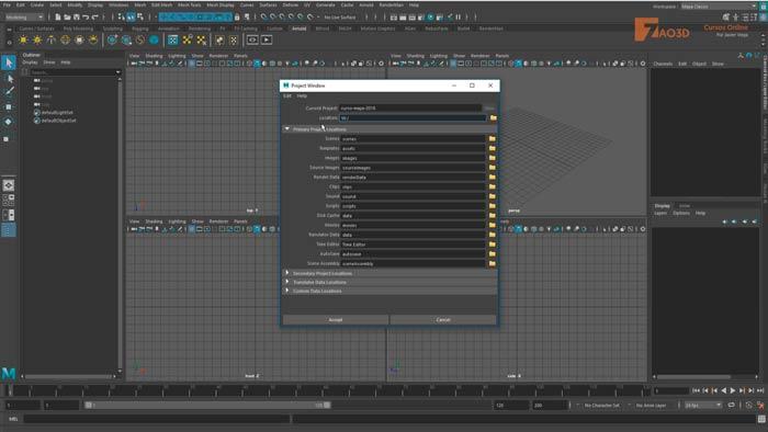 Crear proyectos en Maya 2018