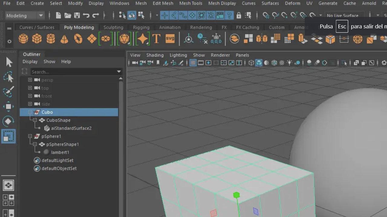 El Outliner, Channel Box y Attribute Editor