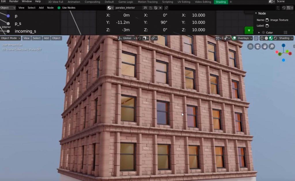 Planos de las ventanas con el shader aplicado.
