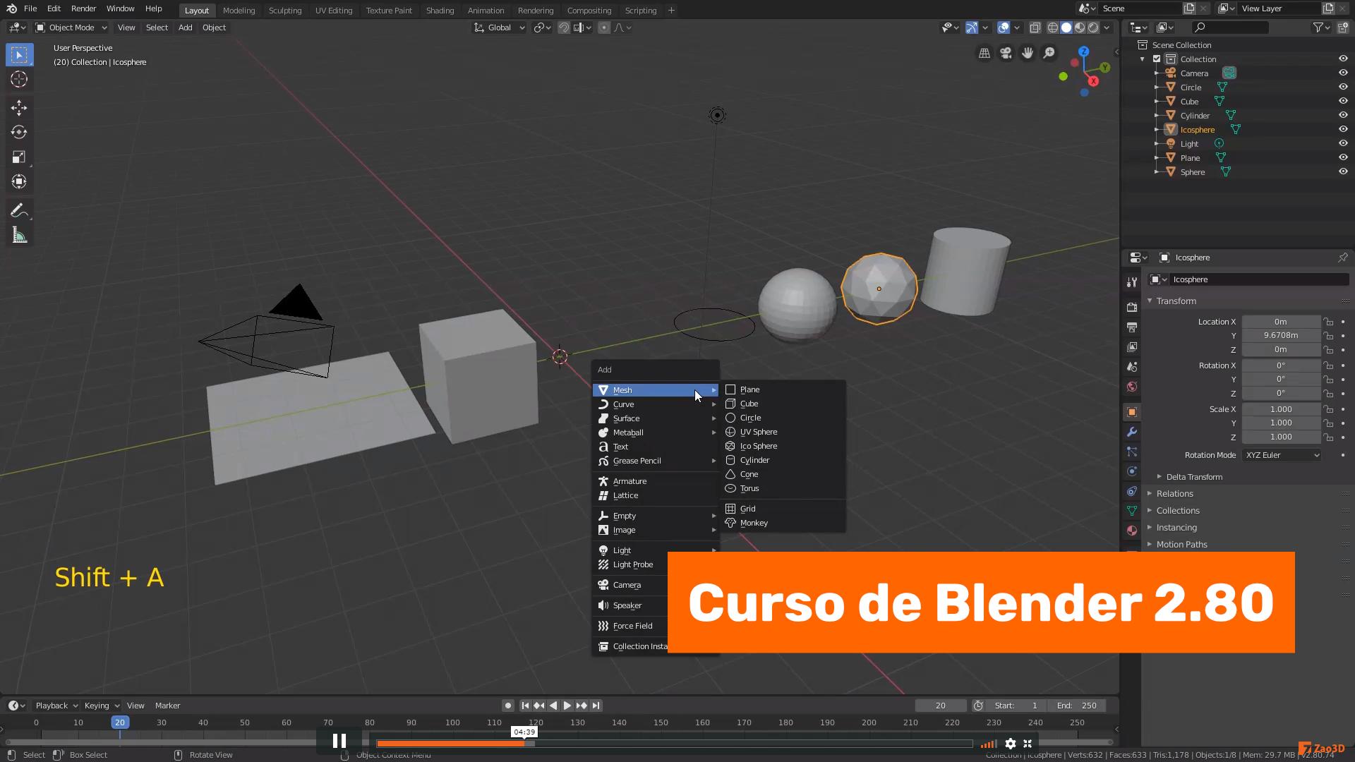 Añadir y eliminar objetos en Blender 2.80