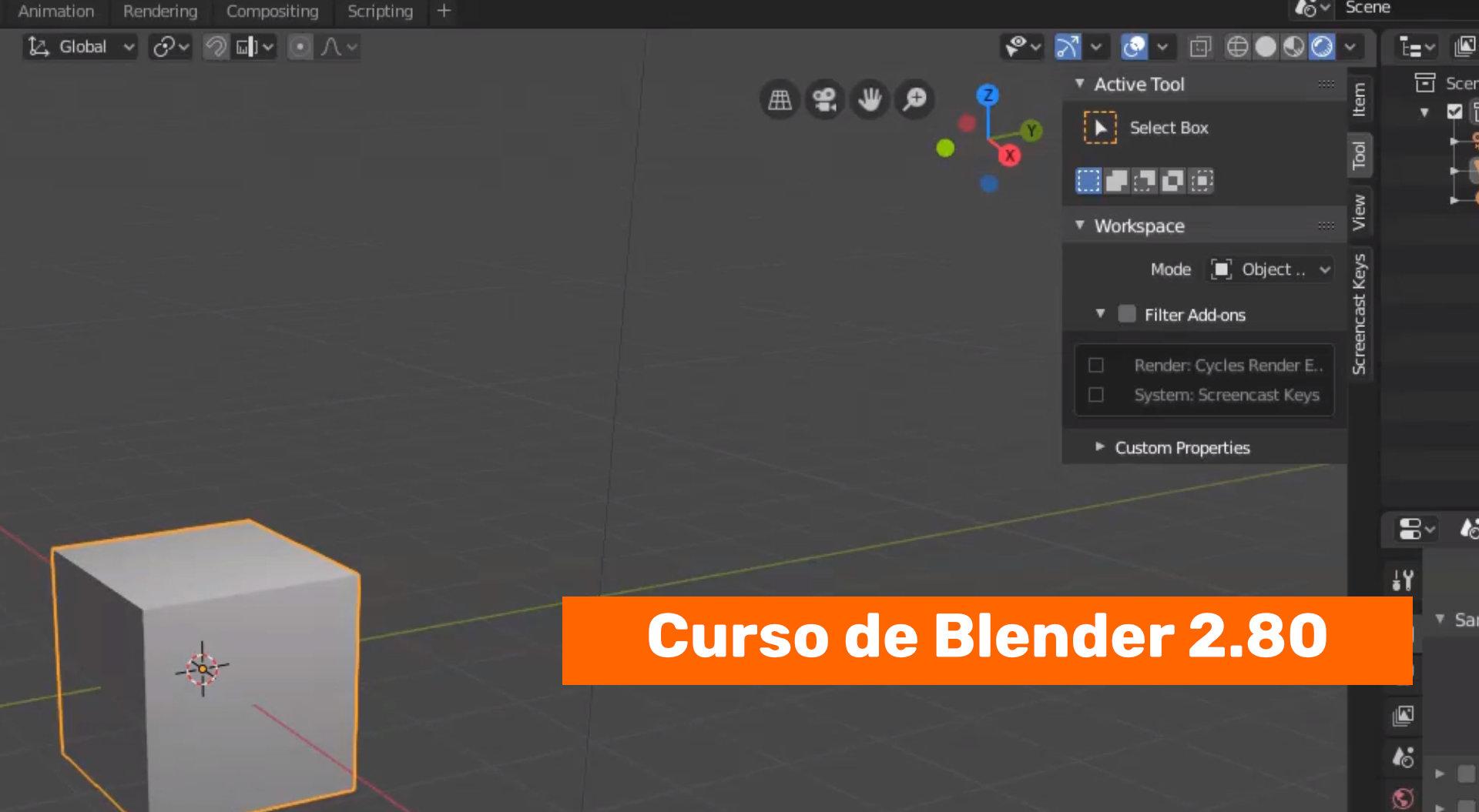 Los elementos del interface de Blender 2.80