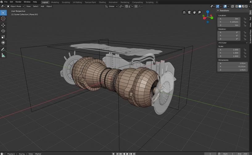La turbina que estamos modelando en el curso de Blender 2.80