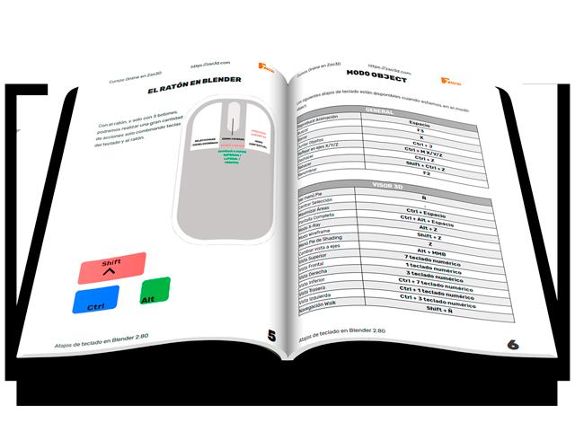 Guía PDF en español con los Atajos de teclado de Blender 2.80