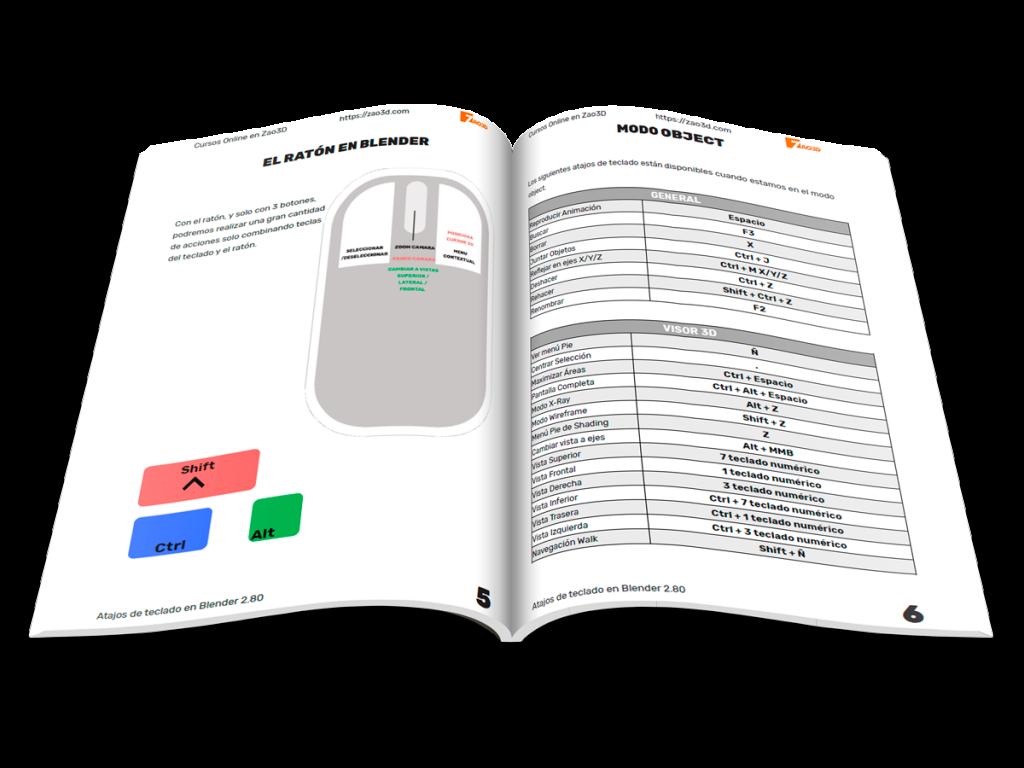 Guía en PDF con los atajos de teclado de Blender 2.80 en español