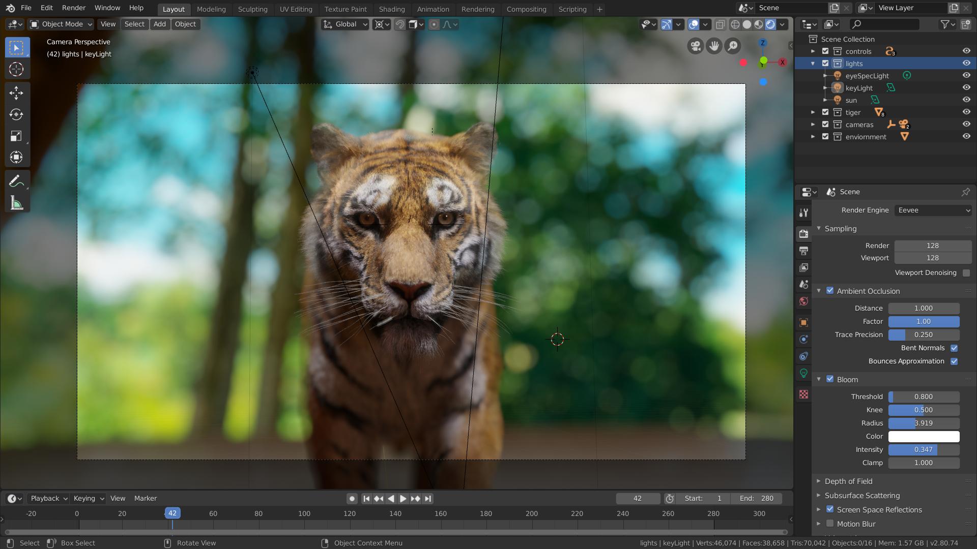 Visor de Blender 2.80 renderizando con EEVEE
