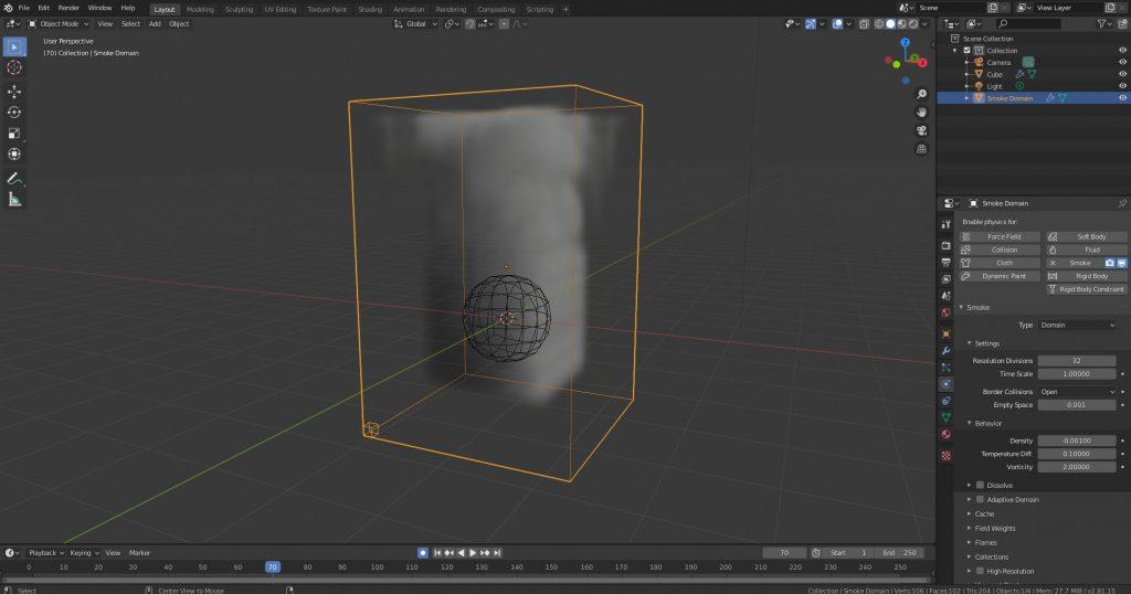 Domain de Quick Smoke con el cubito de tamaño de voxel.
