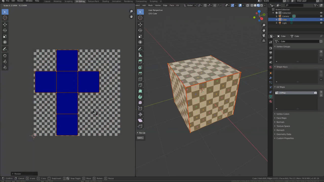 UV Maps en Blender 2.80