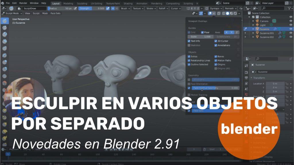 Esculpir en varios objetos con Blender 2.91