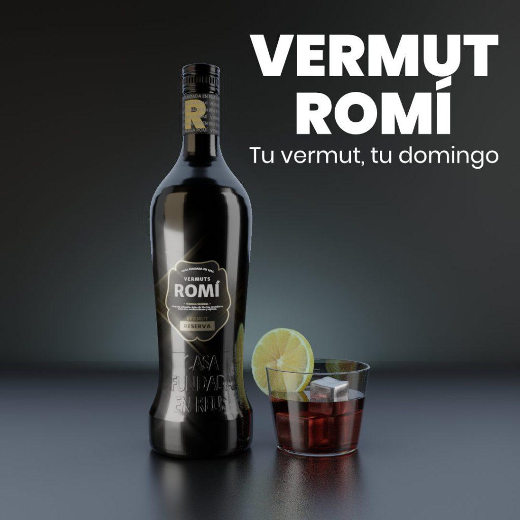 Botella de Vermut Romí. Visualización de productos con Cycles en Blender