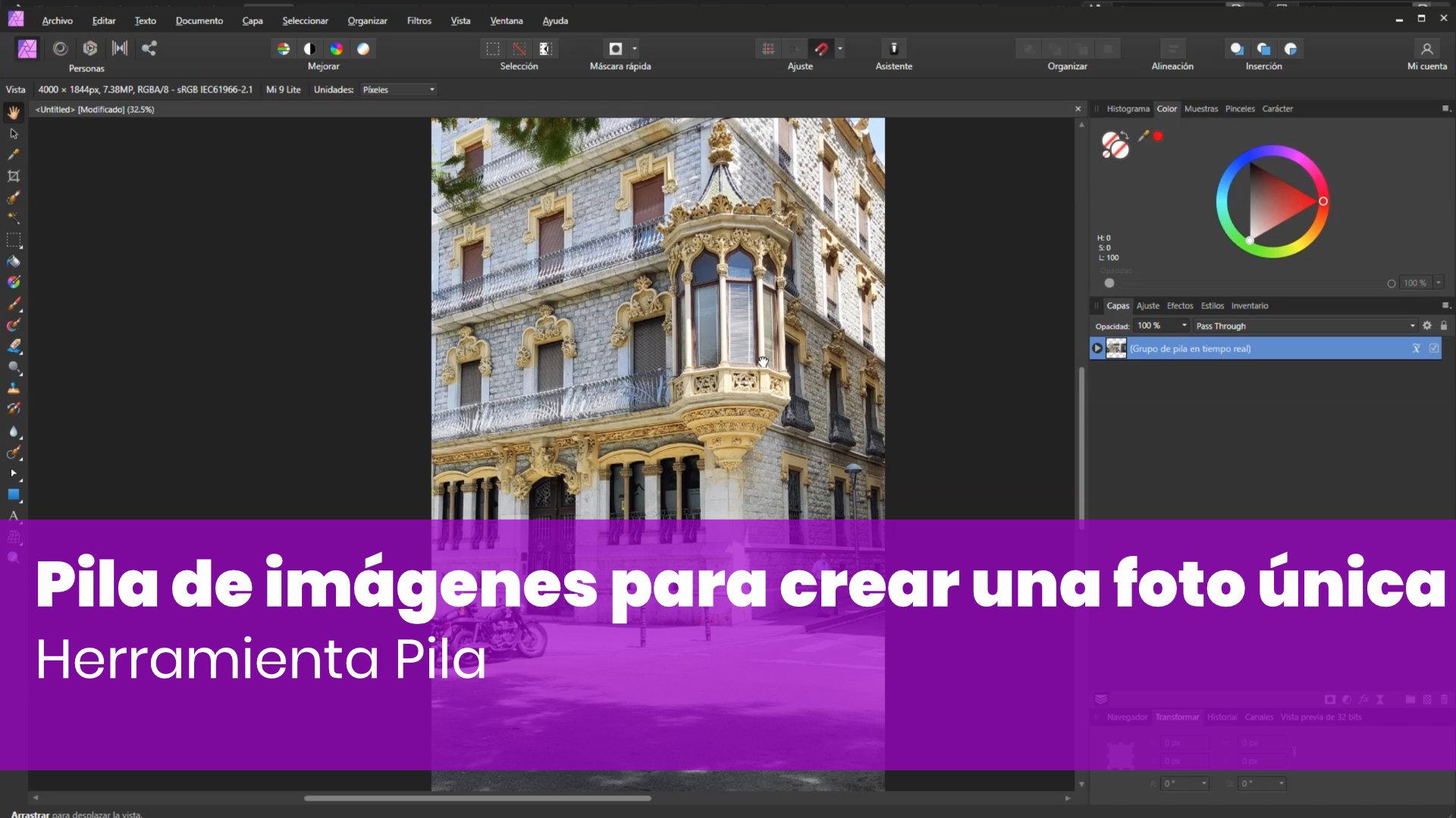 Usar la pila de imágenes para crear una foto única con Affinity Photo