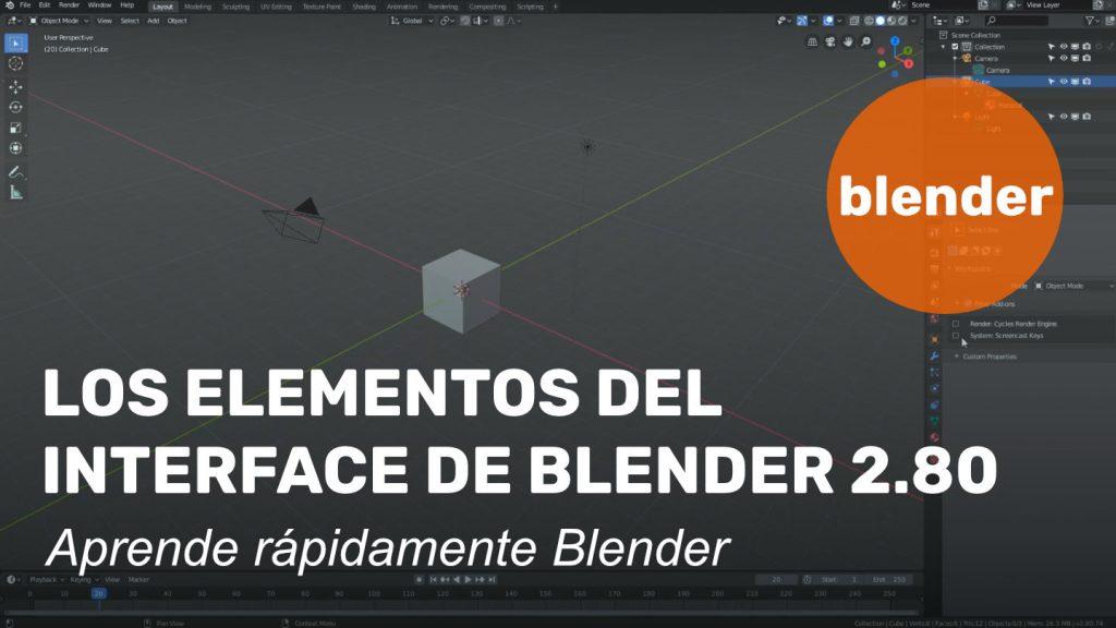 Los elementos del interface de Blender 2.8x