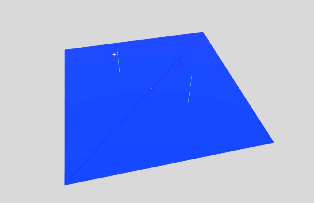 Las líneas en azul claro representan las normales de una cara