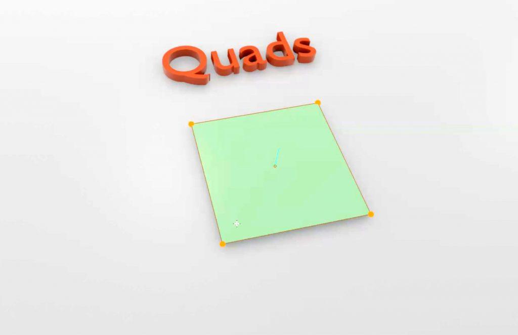 Un quad con sus 4 vértices y 4 aristas. Ideal para el modelado poligonal